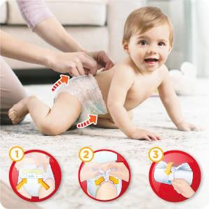 couches pampers baby dry pants sont faciles à enfiler